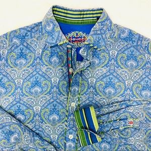 ROBERT GRAHAM Blue Green Print Button Down Shirt